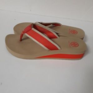 Tory Burch Orange Flip flop Canvas wedge sandals